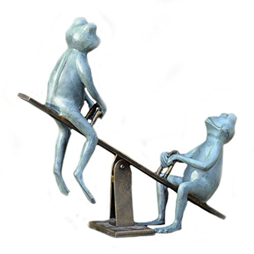 Playground Days Frogs on a See Saw Garden Statue Frog Bronze Garden Statue