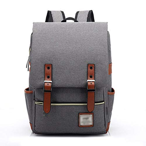 Fashion Vintage Laptop Backpack Women Canvas Bags Men Oxford Travel Leisure Backpacks Retro Casual Bag School Bags For Teenager,Gray -