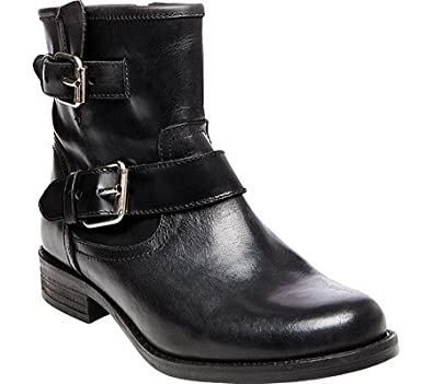 Steve Madden Womens Cain Leather Ankle Motorcycle Boots Black 5 Medium (B,M)