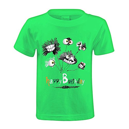 Cutestory Happy Birthday Bouquet Of Flowers Youth Design Cartoon T Shirts Green