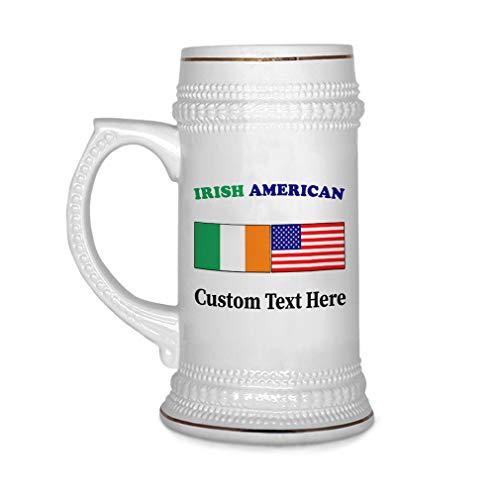Custom Beer Mug Irish American Ceramic Drinking Glasses Beer Gifts White 18 OZ Personalized Text - Irish Personalized Beer