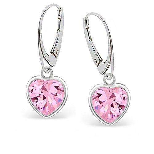 f4328c4ef77f G de H Color Rosa Circonita Corazón Pendientes Pendientes plata de ley 925  Chica Mujer Pendientes