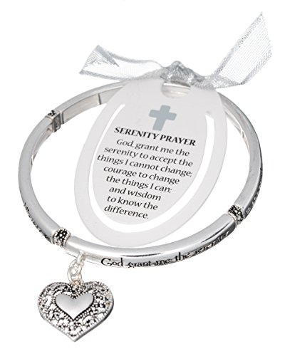 Silver-tone Serenity Prayer Filigree Heart Charm Bracelet & Bookmark SERENITY COURAGE WISDOM (Heart Prayer Serenity)