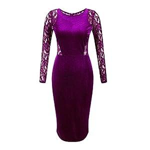 OLRAIN Women's Long Sleeve Velvet Lace Midi Wrap Dress
