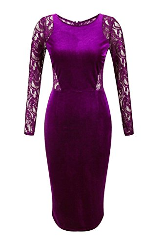 Olrain Womens Sleeve Velvet Dress