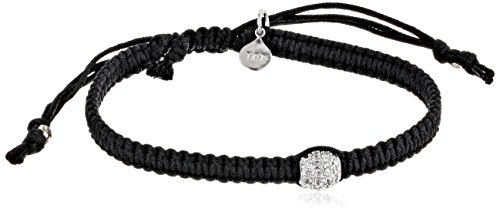 Tai Single Pave Swarovski Clear Crystal Ball on Cotton Cord Bracelet