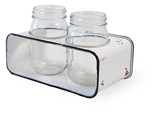 Boston International HHC18450 Rustic White Farmhouse Style Decorative Jars and Metal Holder ()