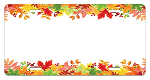 (Lunarable Thanksgiving License Plate, Horizontal Frame with Colorful Fall Season Leaves Rowan Borders Foliage Nature, High Gloss Aluminum Novelty Plate, 5.88 L X 11.88 W Inches, Multicolor)