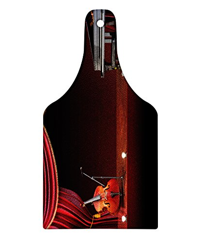 Lunarable Musical Theatre Cutting Board, Orchestra Symphony Theme Stage Curtains Piano Cello Music Design, Decorative Tempered Glass Cutting and Serving Board, Wine Bottle Shape, Burgundy Brown (Glass Piano Dish)