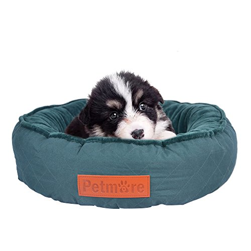 Flannel Round Pet Bed, Soft Green PP Cotton-Filled Bed With Removable and Machine Washable Cover for Dogs and Cats, Up to 12 Pounds