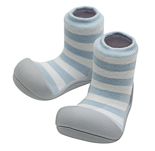 Attipas Best First Walker Shoes Baby Cotton Socks Shoes Non Toxic Safe Great Baby Registry Gifts (US Toddler 6.5, Organic Blue)