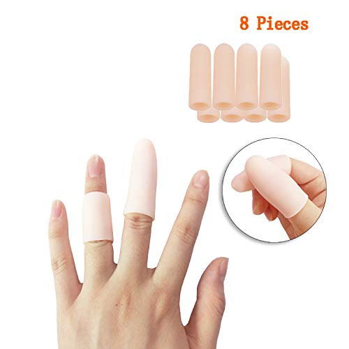 Jrery-KEY Finger Protection Finger Covers for Cracked Fingers - 8 Pcs Finger Sleeves Silicone Gel Finger Tips Protector, Also Use for Toe Corn Callus Protect