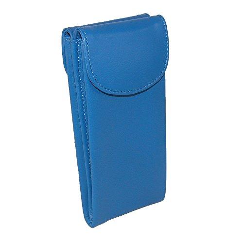 (CTM Women's Leather Double Eyeglass Holder Case, Cobalt Blue )