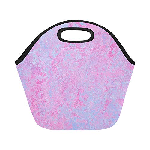 unch Bag Texture Pink Light Blue Large Size Reusable Thermal Thick Lunch Tote Bags For Lunch Boxes For Outdoors,work, Office, School ()