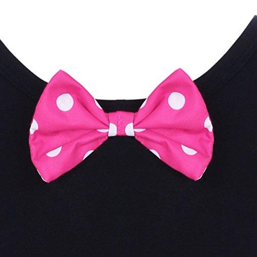Kid Girl Minnie Costume Tutu Dress Ear Headband Outfit Summer Puff Sleeve Polka Dot Ruffle Bowknot Christmas Halloween Dress Up # Hot Pink 2-3 Years by OBEEII (Image #3)
