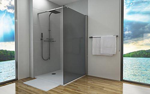 Mampara de ducha, 8 mm, cristal gris, vidrio templado, nanosellado, para plato de ducha, 140 x 200 cm: Amazon.es: Bricolaje y herramientas