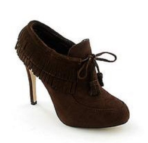 Anne Michelle Foxy-17 Fashion Ankle Booties with Fringes Brown J1K0Akj