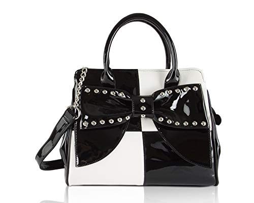 Betsey Johnson studded Bow Triple Compartment Tote Shoulder Bag -Cream/Black