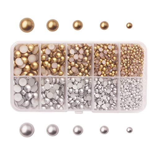 Pearl Brown Imitation (Meicry Beads About 3300pcs 3-8mm Half Round Craft Imitation ABS Pearls Resin Rhinestones for Nails Art Decorations Flat Back Beads Matte Gold Sliver 3mm 4mm 5mm 6mm 8mm and Mixed Sizess)