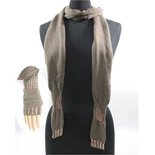 LL Sparkle Fingerless Glove Mittens Rectangle Scarf Combo Brown Knit Wrap Adults (Sparkle Fingerless Gloves)