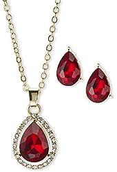 Anne Klein 'Fancy Me' Teardrop Necklace & Studs Gift Set, Ruby-Colored