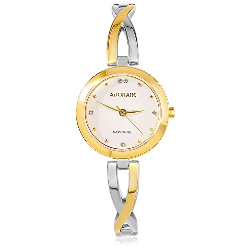 Women's Watch ADORARE Luxury Brand Crystal Ladies Quartz Wrist Watches Stainless Steel Bracelet Dress Watch (715 Gold Silver)