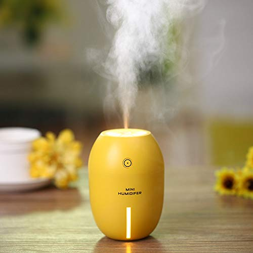 UQQO Mini Humidifier for Office and Bedroom - USB Powered, 180ml Ultrasonic Cool Mist Humidifier with No Noise, Auto-Off & LED Night Light Suitable for Car & Travel (Yellow)