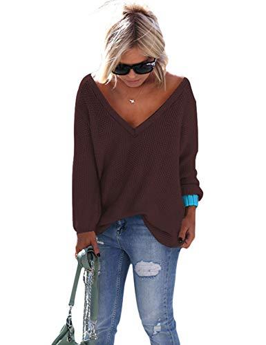 ZHENWEI Womens Soft Loose Pullover Sweatshirt Deep V Neck Sexy Sweater Slouchy Brown
