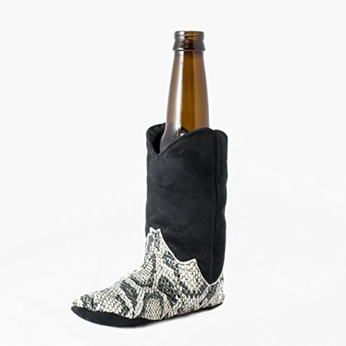 Country Western Cowboy Boot Beer Bottle Kozie by Tipsy Totes | Western Beer Bottle Coozie | Country Beer Boot Coolie | Western Gift Ideas for Beer Lovers | Beer Coosie Bottle | Booze Boot for Beer (Snakeskin Carrier)