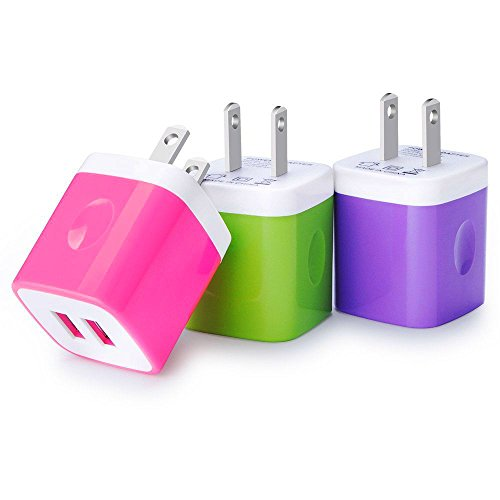 Certified USB Wall Charger 2.1AMP Universal Power Home Travel Wall Charger Dual Port Plug for iPhone, iPod, iPad, Samsung Note, HTC, LG, Smartphones, Tablets and More Device (Random Color)