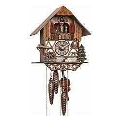 Anton Schneider Cuckoo Clock Black forest house, turning mill-wheel