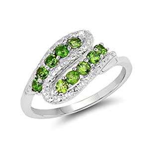 Chrome Diopside .925 Sterling Silver Bypass Ring 0.50ctw. from Johareez