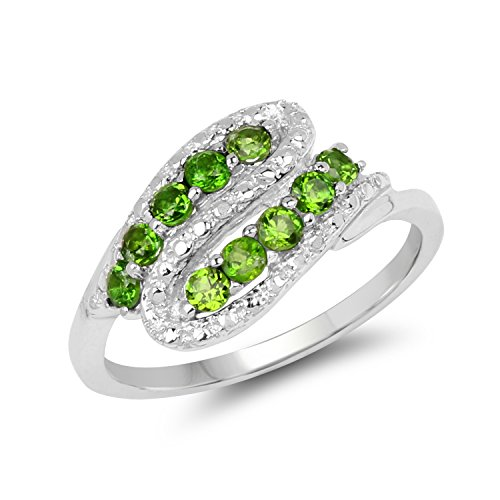 2.10MM Round Chrome Diopside Ring in .925 Sterling Silver, Real Genuine Chrome Diopside Mother's Day Gift (0.50ctw)