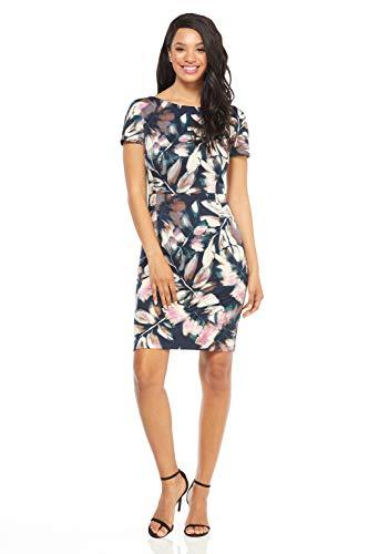 (London Times Women's Short Sleeve Arch Shoulder Ponte Sheath Dress, Teal Pink, 12)