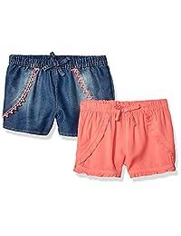 Limited Too Paquete de 2 Pantalones Cortos de Mezclilla y rayón para niñas