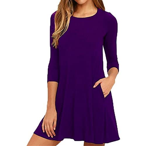 Hot DIOSA Women's long Sleeve Casual Dress Simple T-shirt Loose Pocket Tunic Dress for sale
