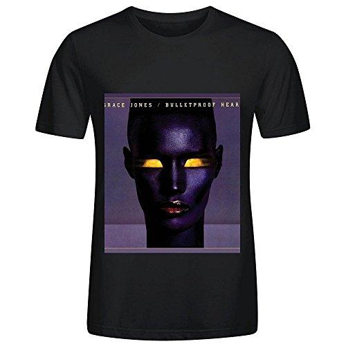 Grace Jones Bulletproof Heart Hits Mens O Neck Short Sleeve Shirts Black