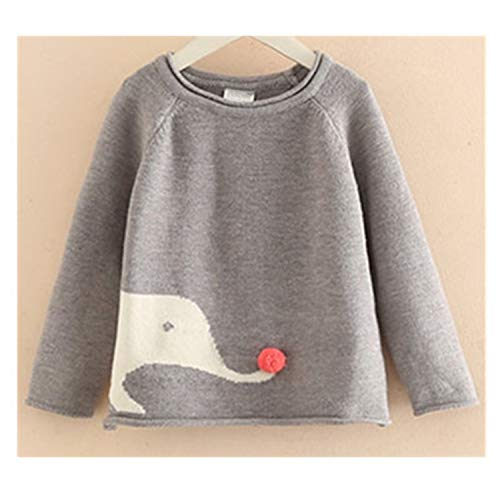 Gail Jonson Autumn Long Sleeve Kids Clothes Cotton Cartoon Elephant Pattern Knitted Pullover Girls Sweaters Gray 3T by Gail Jonson