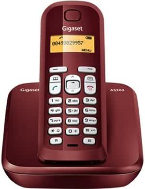 Siemens Gigaset SIAS200R - Teléfono inalámbrico, 10 melodías de timbre, capacidad guía telefónica 60, color rojo: Amazon.es: Electrónica