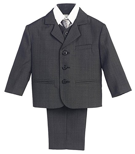 5 Piece Dark Gray Suit with Shirt, Vest, and Tie - Size M (9 Month)