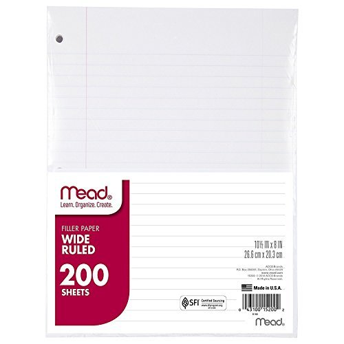 Mead Filler Paper, Loose Leaf Paper, Wide Ruled, 200 Sheets PER PACK