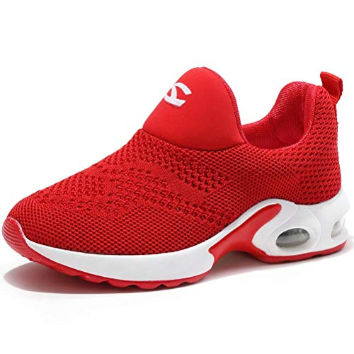 Kids Boys Girls Running Shoes Comfortable Fashion Light Weight Slip on Cushion Red, 13.5 Little Kid