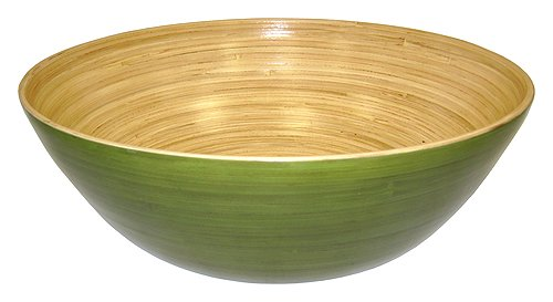 Simply Bamboo BBC16 Glossy Celadon Green Bamboo Bowl, 16 x 16 x 5.5
