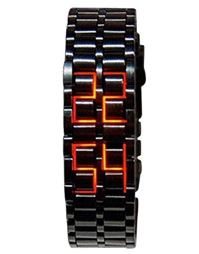 Panegy Waterproof LED Light Luminous Casual Couple Watches Digital Bracelet Watch Girls Black Red Lights by Panegy