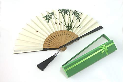 Chinese/Japanese Folding Hand Fans for Women (Bamboo,Bird)]()