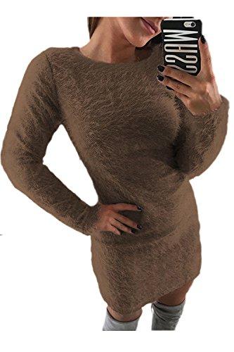 La Vestido Elegante Invierno Coffee Lápiz S Mujer De Pullover Mohair Imitacion Mini Parte rtTgqrRnwW