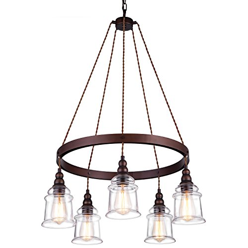 5 Light Dining Room Chandelier - Lanros 5-Light Wagon Wheel Chandelier,Antique Metal Flaxen and Hemp Rope Circle Pendant Lighting with Clear Glass Bell Shaded Pendants for Dining Room,Foyer,Kitchen,Entryway