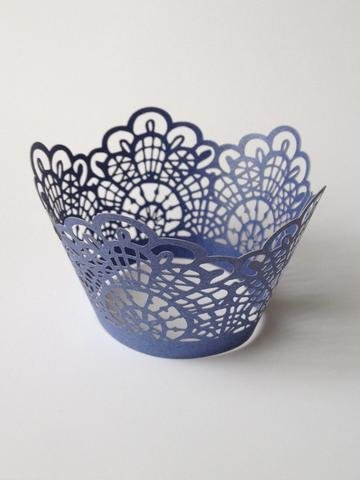 12 pcs Crochet Lace Cupcake Wrappers Wrapper for Standard Size Cupcake Liners (Blue Navy)