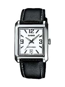 Casio CASIO Collection Men - Reloj analógico de caballero de cuarzo con correa de piel negra