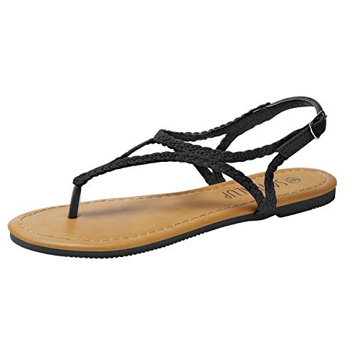 SANDALUP Braided Thong Flat Sandals w Hang Metal Buckle for Women Black 06